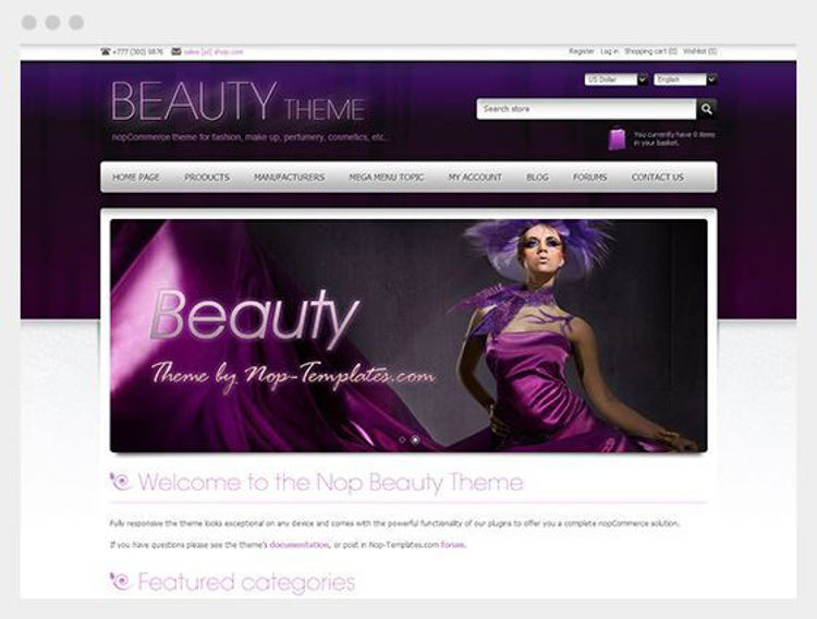 Nopcommerce Beauty Responsive Theme