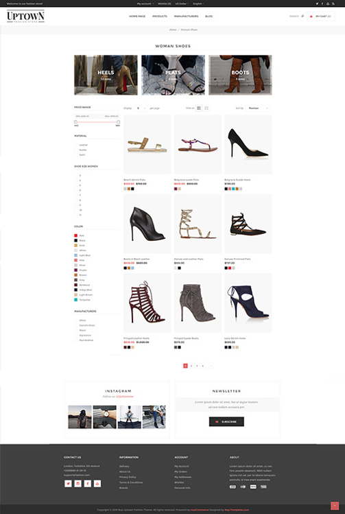Nopcommerce Uptown Shoes and Accessories  Responsive Theme